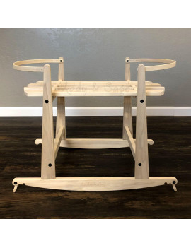 2 in 1 Natural Rocking Stand with Brakes for Mockingbird Bassinets