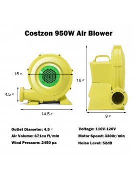 Costway Air Blower Pump Fan 950 Watt 1.25HP For Inflatable Bounce House Bouncy Castle