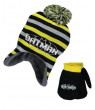 "Batman ""Striped Bat"" Beanie and Mittens Set (Infant One Size) - yellow/black, one size"