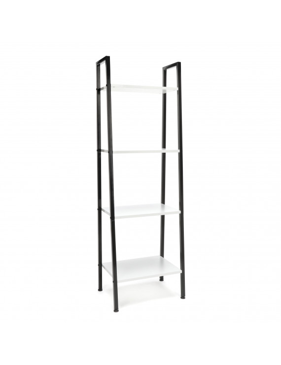 OFM Essentials Collection 4-Shelf Free Standing Ladder Bookshelf, in White with Black Frame (ESS-1045-BLK-WHT)