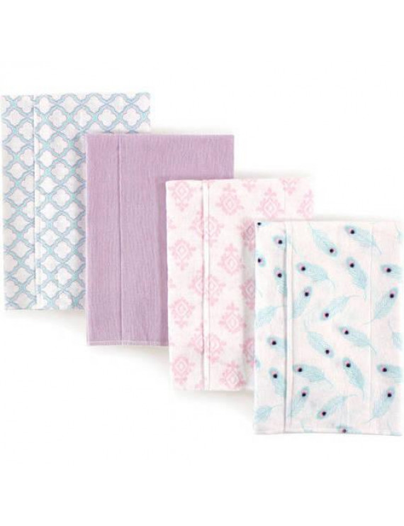 Hudson Baby Boy and Girl Flannel Burp Cloths, 4-Pack - Peacock Feathers