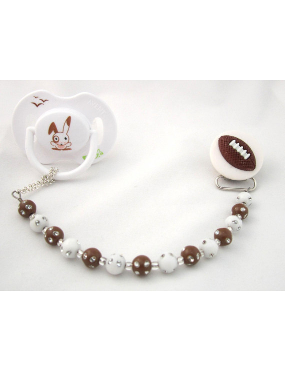 Brown Football with Brown and White Mini Beads Sports Pacifier Clip