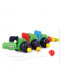 〖Follure〗Wooden Pull Along Crocodile Toy - Beautiful Crocodile Pull Along Toy For Baby
