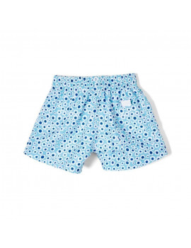Azul Little Girls Blue Flower Print Drawstring Dreamy Daisies Swim Shorts