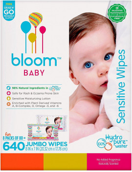 bloom Baby Wipes, Sensitive, Unscented, 8 packs of 80 (640 count)