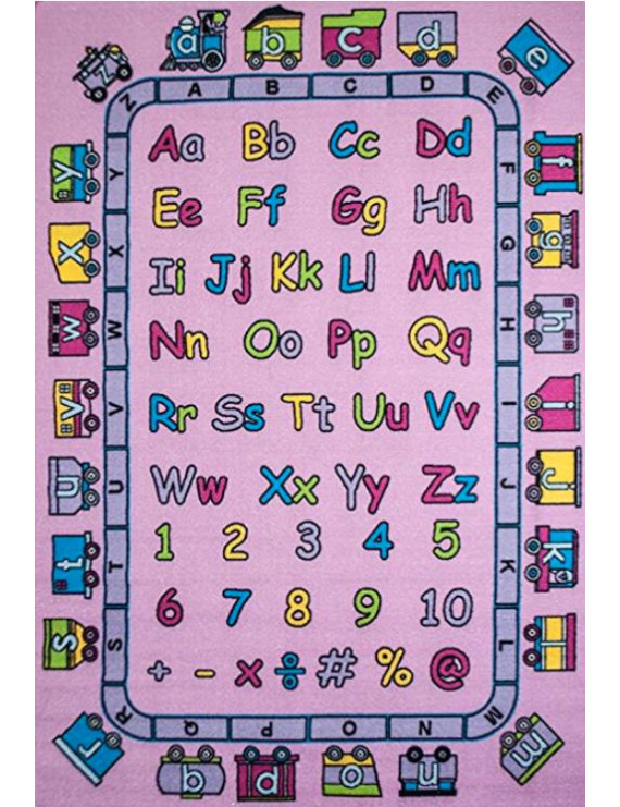 "ABC Fun in Pink Area Rug 5' x 7' Children Area Rug for Playroom & Nursery - Non Skid Gel Backing (59"" x 82"")"