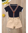 Multitrust 2pcs Baby Boys Kids Gentleman Outfits Suit Romper Shirt Bib Pants Set