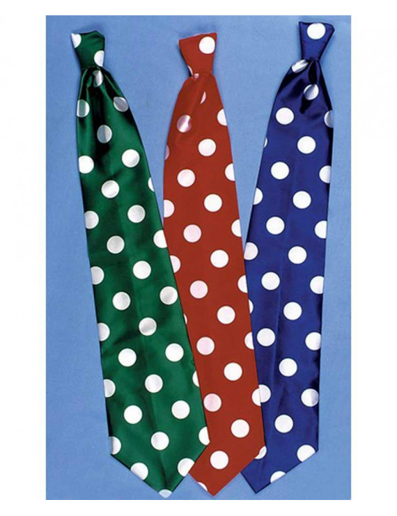 Clown'S Long Tie-Blue W/White