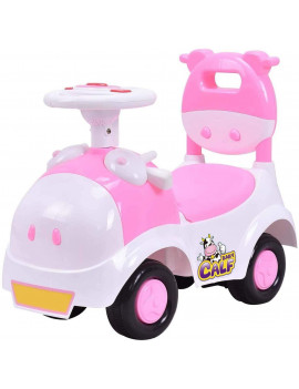 Baby Calf 3-in-1 Walker Low-seat Ride On Toy Sliding Car Pushing Cart with Sound - Pink