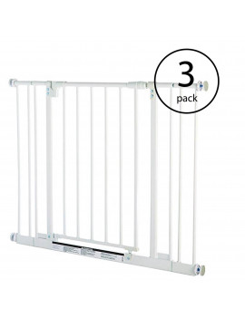 North States Easy Close 38.5 Inch Metal Baby Pet Safety Gate, White (3 Pack)