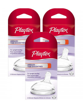 Playtex Angled Nipple - Medium Flow, 2 Count, 3 Pack