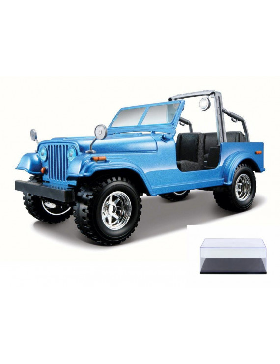 Diecast Car & Display Case Package - Jeep Wrangler, Blue - Bburago 22033 - 1/24 Scale Diecast Model Toy Car w/Display Case