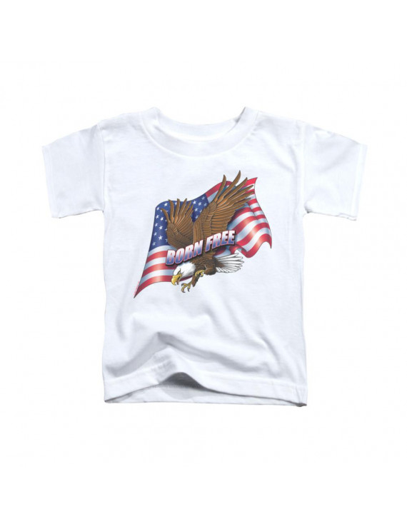 born free t-shirt trevco white kids unisex 100% cotton short sleeve