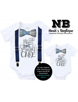 Cake Smash Outfit Boy with Blue Gray Navy Plaid Bow Tie Grey Writing First Birthday Shirt NO Suspenders Noah's Boytique 6-12  Months