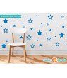 Stars Fabric Wall Decals, Set of 52 Stars in Various Sizes - 19 Color Options-Pink/
