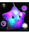 Creative Twinkle Glowing Stars Shape Plush Throw Pillow, LED Night Light Pillow Cushions Stuffed Toys Gifts for Kids, Christmas (Purple)