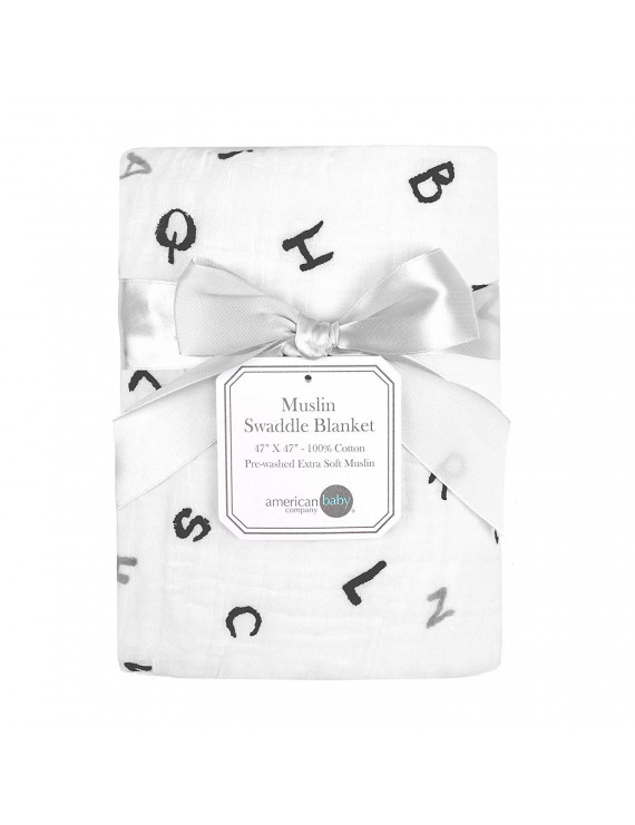 """American Baby Company 100% Natural Cotton Muslin Swaddle Blanket, Alphabet, 47"""" x 47"""", Soft Breathable, for Boys and Girls"""