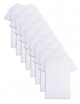 Fruit of the Loom Boys Undershirts White Crew T-shirts, 5+3 Bonus Pack, Size S-XL