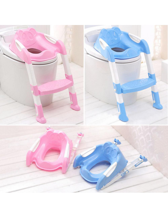 Toddler Toilet Ladder Baby Potty Training Toilet Chair Seat Step (Pink)