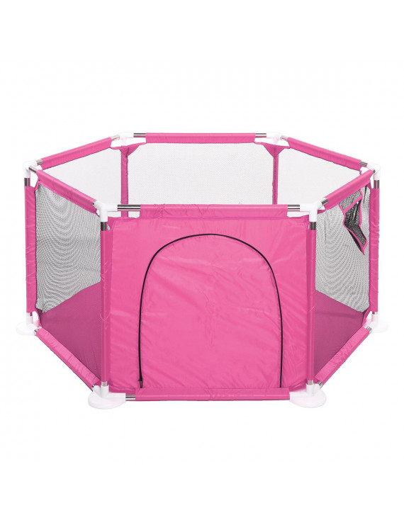 Baby Playpen 6 Sides with Round Zipper Door Play Pen for Toddlers Safe Indoor Baby Playpen 6 Panel Kids Safety Play Center Yard Home Frame Playards Indoor Outdoor