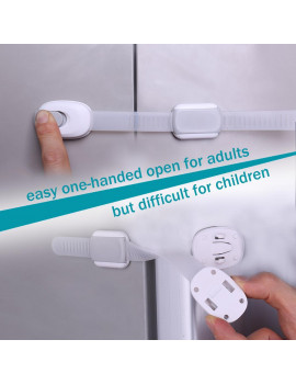 TSV Baby Safety Locks Child Proof Cabinets Drawers Appliances Toilet Seat Fridge No Tools or Drilling Adjustable Strap and Latch System - 5Pcs White