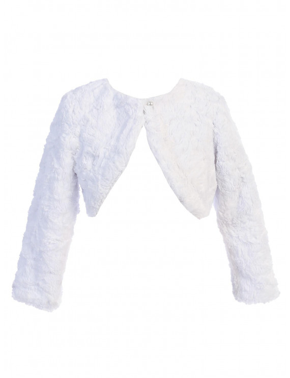 Sweet Kids Baby Girls White Fur Pearl Button Long Sleeve Bolero Sweater