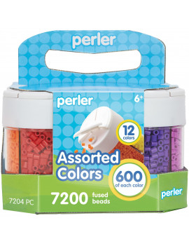 Perler 3-Way Storage Container with Beads, 7200 Pieces, 12 Colors
