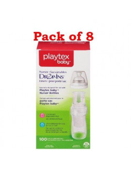 Playtex Baby Nurser Drop-Ins Baby Bottle Disp. Liners, 8 oz, 100 Ct (Pack of 8)