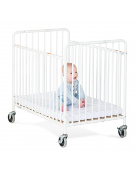 Foundations StowAway Portable Folding Baby Crib with Mattress, White