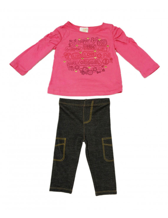 ABSORBA Toddler Girl's Rose Pink Top / Jeggings 2-Pc Outfit 12 Months AUIG5661