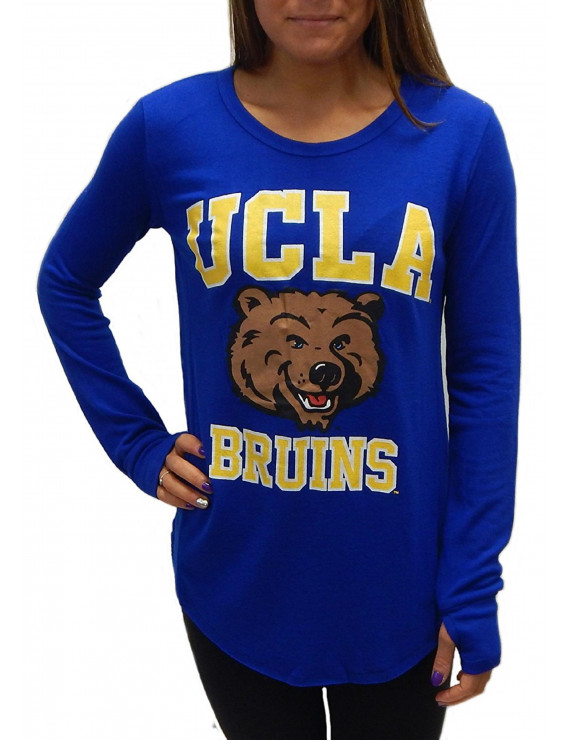 UCLA Bruins Officially Licensed Logo Junior Fit Tee Long Sleeve T-Shirt with Thumb Holes (Small)