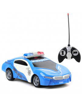 27MHZ 1:18 RC Car Police Cruiser 4-channel hit open doors Remote Control Car Educational Toy Vehicle BLUE