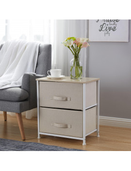 2 Drawer Vertical Storage Dresser Tower - Maple Wood Top - Sturdy Metal Frame - Linen Fabric Storage Bins with Pull Tabs - Organizer Unit for Hallway, Entryway, Closets and Bedroom - Beige