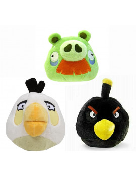 "Angry Birds Plush 5"" 3 Pack Assortment Moustache Pig, Black Bird, White Bird"