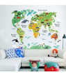 Wall Stickers Animal World Map PVC Wall Sticker Kids Children Education Gift Bedroom Nursery Mural Removable 28.7''x37.4''