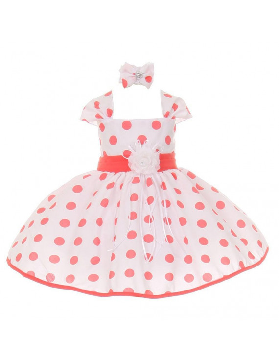 Shanil Inc Baby Girls Coral White Polka Dot Headband Flower Girl Dress 18M