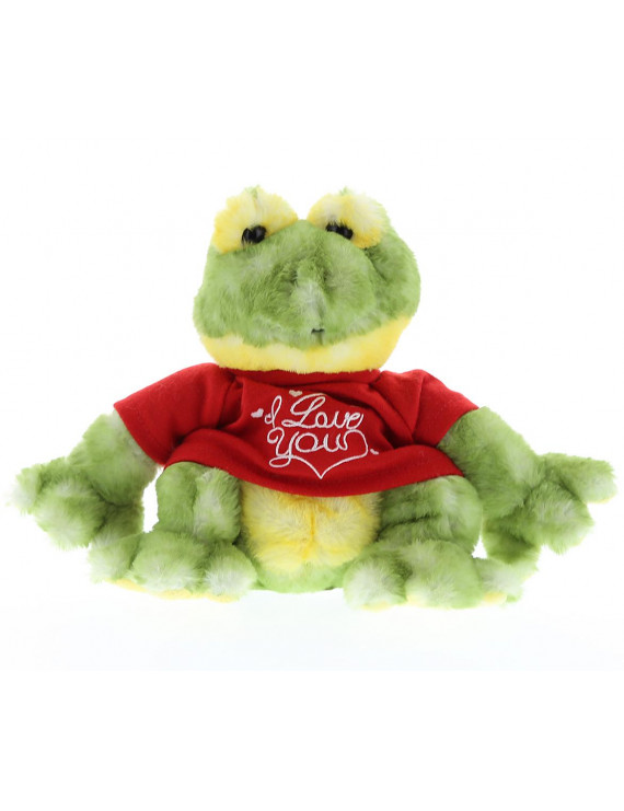 Dollibu Cute Green Frog I Love You Valentines Stuffed Animal - Red Message Tshirt - 5.5 inch - Wedding, Anniversary, Date Night, Long Distance, Get Well Gift for Her, Him, Kids - Super Soft Plush