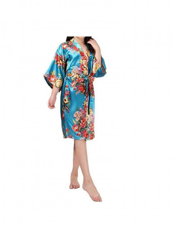 Baby clothes pajamas kids girls Satin Silk Bathrobe Sleepwear Floral Bath Robe
