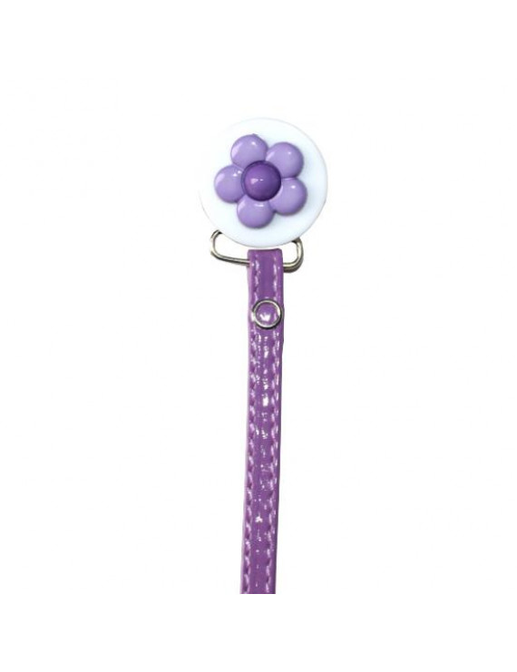 Daisy Pacifier Clip with Faux Leather strap