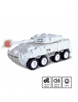 Vokodo Arctic White Battle Tank Military Truck Push And Go With Lights And Sounds Durable Toy Rotating Top Cannon Friction Power Kids Armored Vehicle Play Army Car Great Gift For Children Boys Girls