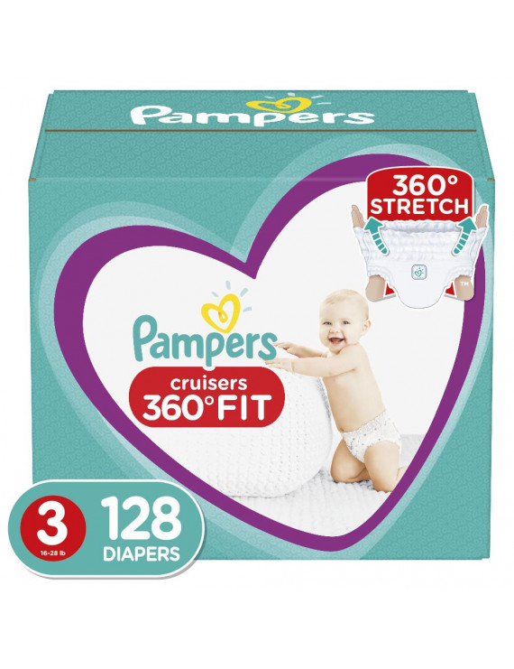 Pampers Cruisers 360 Fit Active Comfort Diapers, Size 3, 128 ct