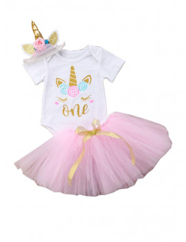 Dewadbow Toddler Baby Girls Unicorn Romper Tutu Skirt Dress Headband Outfit Set