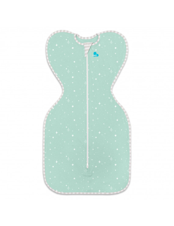 Love To Dream Swaddle UP Lite, Mint Stars, Medium, 13-19 lbs., Allow Baby to Sleep in Their Preferred Arms UP Position for Self-Soothing, Snug fit Calms Startle Reflex