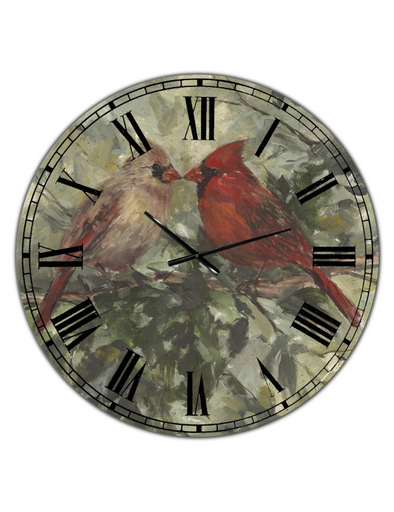 Designart 'Kissing Cardinals' Metal Wall Clock