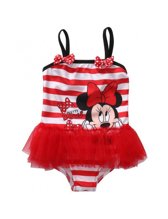 Lookwoild Baby Kids Girl Bowknot Striped Tutu Swimsuit One-Piece Bathing Skirt Beachwear