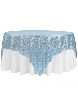 "1 Pc, Glitz Sequin Table Overlay Topper 90""X90"" Square - Baby Blue For Wedding Ceremonies & Receptions, Bridal Showers, Baby Showers, Quinceaneras, Anniversary Parties, Or Special Event"