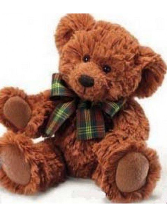"Russ Berrie Extra Soft Teddy Bear with Plaid Bow 8"" (Dark Brown)"