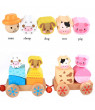 matoen Wooden Rocking Farm Animals Pull Train Toy Baby Rock Baby Toys Gift For Toddler