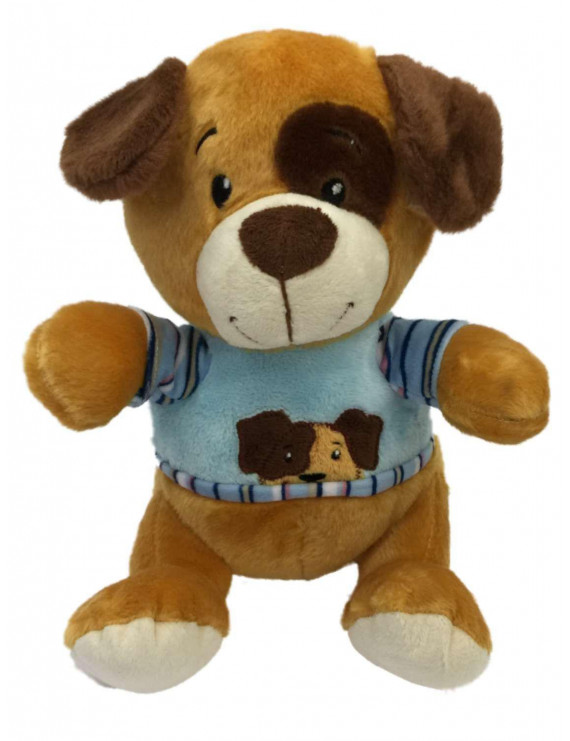 "Linzy Toys Plush Tan & Brown 9"" Puppy Dog Stuffed Animal Pal With Spot On Eye"