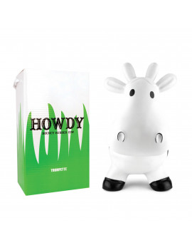 Trumpette Howdy Cow Original Inflatable Bouncy Rubber Hopper Ride-On Toy For Kids Eco-Friendly Physical Therapy Bouncer Seat to Help Increase Balance and Agility with Hand Pump; Best Kid Gift! White